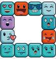 cute emoji emoticons emotional faces icons vector image