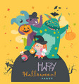 cute girl with funny monsters halloween party vector image vector image