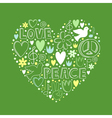 doodle elements on love and peace theme in heart vector image vector image