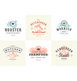 engraving logos and labels farm animals with vector image