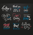 fathers day lettering calligraphic emblems badges vector image