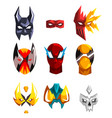 Flat set of superheroes masks clothing