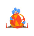 funny clown sitting with big ball actor vector image vector image