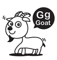 G Goat cartoon and alphabet for children to vector image