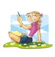 Girl writes greetings vector image vector image