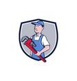 Handyman Pipe Wrench Crest Cartoon vector image vector image