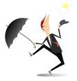 happy man with umbrella is happy the ending rain vector image