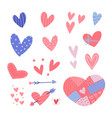 hearts stickers set valentine s day hearts for vector image