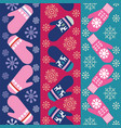 holiday background design with knitted mittens vector image