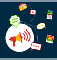 infographic social network concept megaphone backg vector image