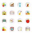 kindergarten symbol icons set in flat style vector image vector image