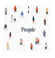 large group walking people flat cartoon vector image