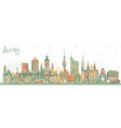 leipzig germany city skyline with color buildings vector image vector image