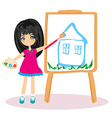 Little artist girl painting her dream house on vector image