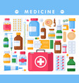 medicine pharmacy bottles pills drugs vector image