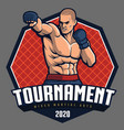 mma fighter design for badge and logo vector image vector image