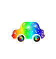 most top-end toy car multi colored in drops of vector image