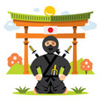 ninja and dojo flat style colorful cartoon vector image vector image