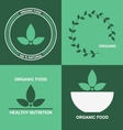 Organic product logo design with green leafs