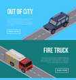 out of city flyers with cars in road vector image vector image