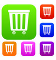 outdoor plastic trash can set color collection vector image vector image