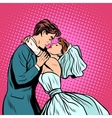 Pair of bride and groom first kiss vector image vector image