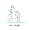 psychologist is on a stack of books and gives the vector image vector image