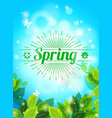 realistic spring background blue sky green leaves vector image