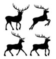 set of black reindeers vector image