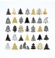 set of different elegant christmas trees design vector image vector image