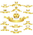 Set of golden crown with curves banner vector image vector image
