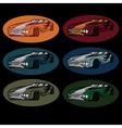 set of vintage sport car vector image vector image