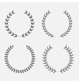 set silhouette round laurel foliate wheat wreat vector image