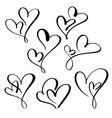 set two lovers heart handmade calligraphy vector image vector image
