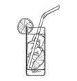 sketch - glass lemonade vector image vector image