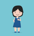 small girl making showing thumb up vector image