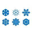 snowflake icons set blue silhouette snow flake vector image