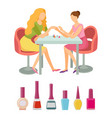 spa salon manicure bottles polishers set vector image vector image