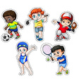 Sticker set of children playing sports vector image vector image