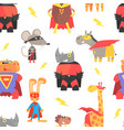 superhero animals seamless pattern cute animal vector image vector image