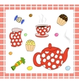 Tea set with sweets vector image