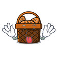 tongue out bread basket mascot cartoon vector image