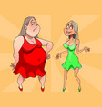 two cartoon women are fat and thin vector image