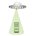 ufo flying spaceship isolated on white photo vector image vector image