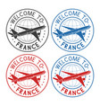 welcome to france travel stamps set with plane vector image vector image