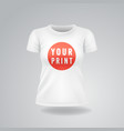 white woman t-shirt with short sleeves mock up vector image vector image