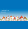 with doodle cartoon colored houses vector image