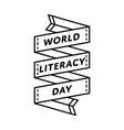 world literacy day greeting emblem vector image vector image