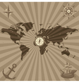 World map with nautical symbols vector image vector image