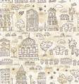 seamless background of city doodle grunge vector image